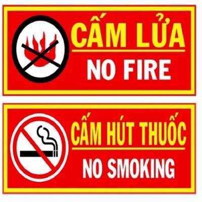 bảng cấm lửa, cấm thuốc